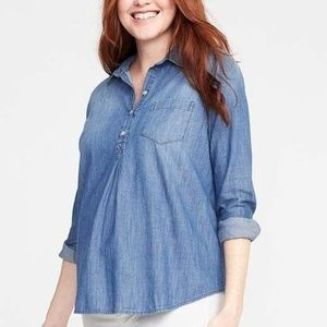 Old Navy Chambray Popover Longsleeve Top Maternity